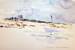 Artwork preview : Watercolors, Deschamps : Phare au ciel mauve