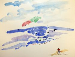 Artwork preview : Watercolors, Deschamps : Le joueur de cerf-volant