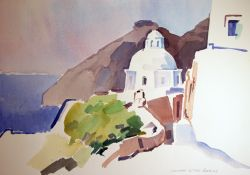 Artwork preview : Watercolors, Deschamps : L'église devant la montagne