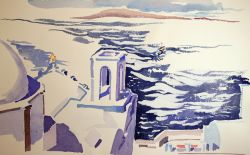 Artwork preview : Watercolors, Deschamps : Eglise devant la mer
