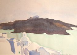Artwork preview : Watercolors, Deschamps : Santorin