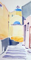 Artwork preview : Watercolors, Deschamps : L'église jaune et bleue