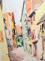 Artwork preview : Watercolors, Deschamps : Riquewirh: rue de l'église