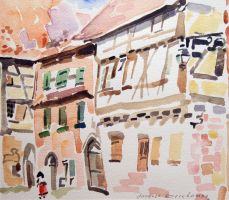 Artwork preview : Watercolors, Deschamps : Rue à Riquewirh et Alsacienne