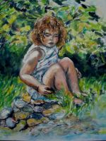 Artwork preview : Oil Painting, Dawy : fillette au bord de l'eau