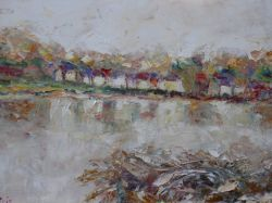 Artwork preview : Oil Painting, bord de loire enneigé