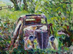 Artwork preview : Oil Painting, Dawy : vieille voiture fond du jardin