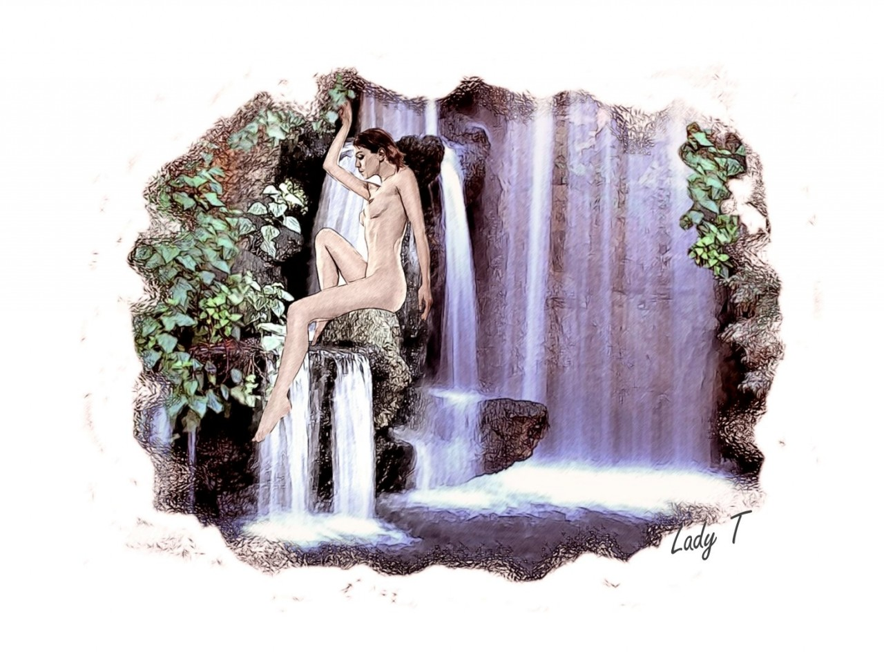 Artwork picture : Teresa Little, waterfall girl