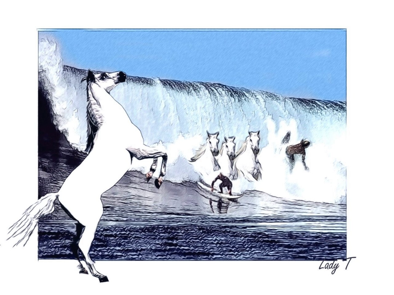 Artwork picture : Teresa Little, Surfing waves
