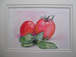 Artwork preview : Watercolors, tomates et basilic