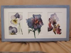 Artwork preview : Watercolors, Rigaudeau : triptyque fleurs mauves