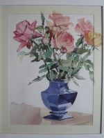 Artwork preview : Watercolors, Rigaudeau : Vase de roses