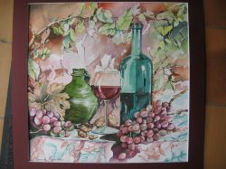 Artwork preview : Watercolors, Rigaudeau : Vin et raisins