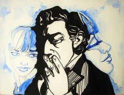 Artwork preview : Artylavi : Dessin Flashback Gainsbourg et Birkin ( Aquarelle et feutre noir)